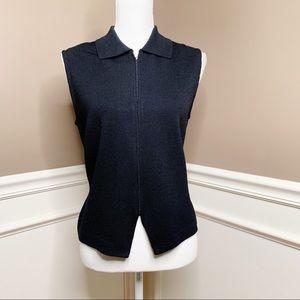 St. John black zip Santana knit sweater vest P0527